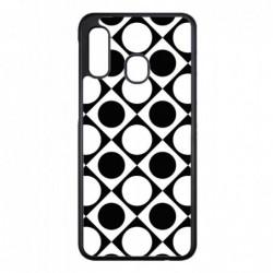 Coque noire pour Samsung J510 motif géométrique pattern noir et blanc - ronds et carrés