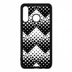 Coque noire pour Huawei P7 mini motif géométrique pattern noir et blanc - ronds carrés noirs blancs