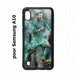 Coque noire pour Samsung Galaxy A10 Lionel Messi FC Barcelone Foot vert-rouge-jaune