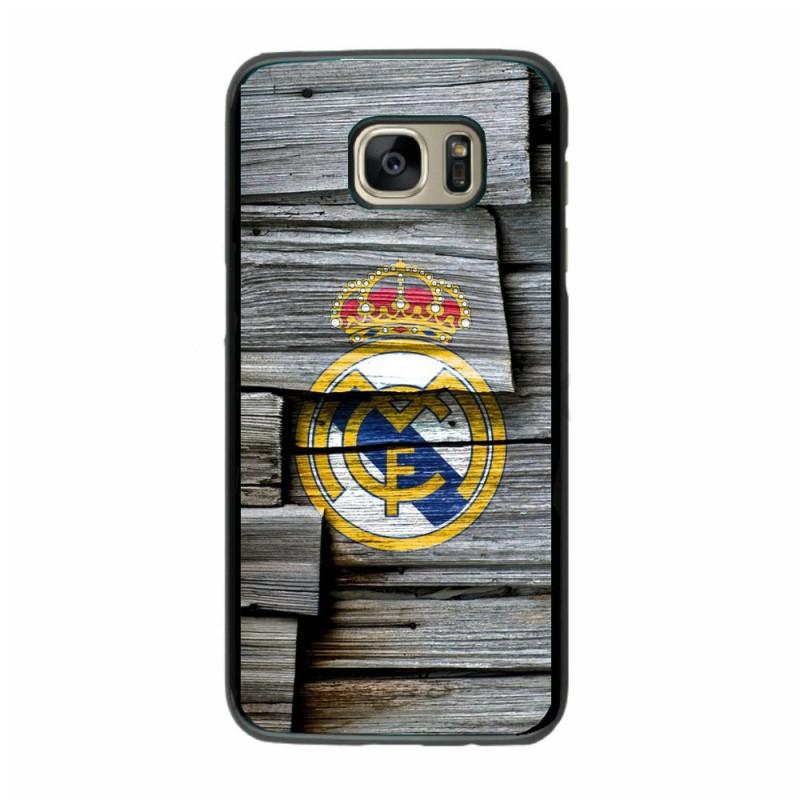 Coque noire pour Samsung i8160 emblème Real de Madrid Foot - aspect bois