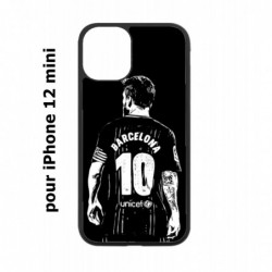 Coque noire pour Iphone 12 MINI Lionel Messi FC Barcelone Foot