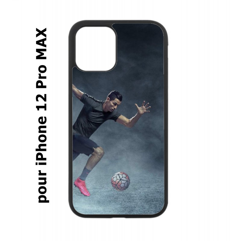 Coque noire pour Iphone 12 PRO MAX Cristiano Ronaldo club foot Turin Football course ballon