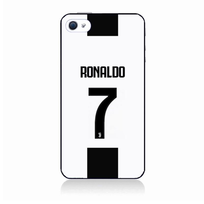 Coque noire pour IPHONE 6/6S Ronaldo CR7 Juventus Foot numéro 7 fond blanc