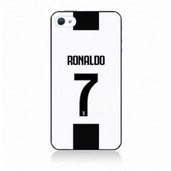 Coque noire pour IPOD TOUCH 4 Ronaldo CR7 Juventus Foot numéro 7 fond blanc