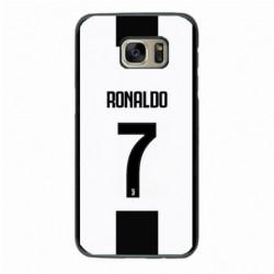 Coque noire pour Samsung Grand Prime Ronaldo CR7 Juventus Foot numéro 7 fond blanc