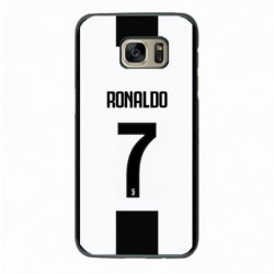 Coque noire pour Samsung i8160 Ronaldo CR7 Juventus Foot numéro 7 fond blanc