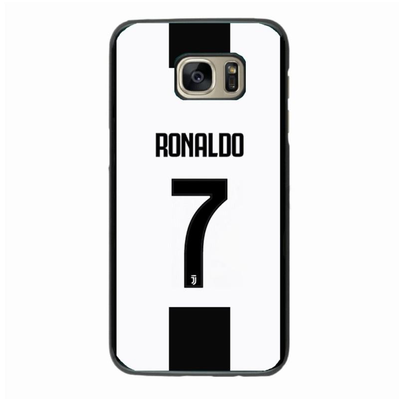 Coque noire pour Samsung S4 Ronaldo CR7 Juventus Foot numéro 7 fond blanc