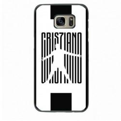 Coque noire pour Samsung Grand Prime Cristiano Ronaldo CR7 Juventus Foot noir sur fond blanc