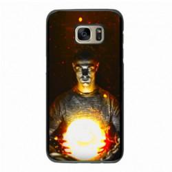 Coque noire pour Samsung S6 Edge Plus Ronaldo CR7 Juventus Foot ballon enflammé