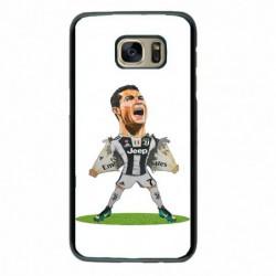 Coque noire pour Samsung S6 Edge Cristiano Ronaldo Juventus Turin Football - Ronaldo super héros