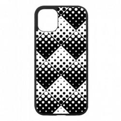 Coque noire pour Honor 10 motif géométrique pattern noir et blanc - ronds carrés noirs blancs
