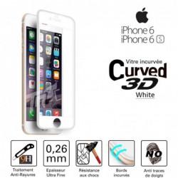 Verre Trempé pour smartphone IPHONE 6plus/6Splus vitre incurvée couleur Blanc