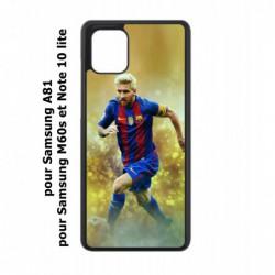 Coque noire pour Samsung Galaxy M60s Lionel Messi FC Barcelone Foot fond jaune