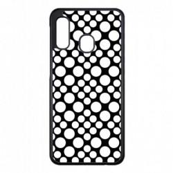Coque noire pour Samsung Galaxy A42 5G motif géométrique pattern noir et blanc - ronds blancs