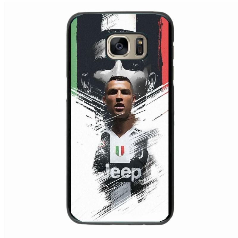 Coque noire pour Samsung S10 Ronaldo CR7 Juventus Foot