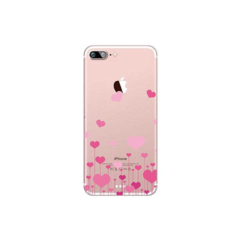 coque iphone 5c silicone transparente motif avec des coeurs