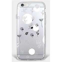 Coque Iphone 5C Silicone Transparente Motif Fleurs/Pissenlit Gel-Housse Étui Clair Transparente Ultra Mince
