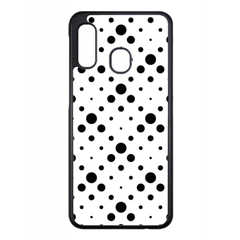 Coque noire pour Samsung Galaxy A82 motif géométrique pattern noir et blanc - ronds noirs sur fond blanc