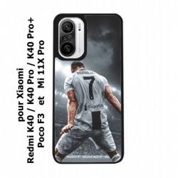 Coque noire pour Xiaomi Mi 11X Pro Cristiano Ronaldo club foot Turin Football stade