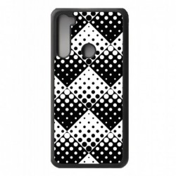 Coque noire pour Xiaomi Redmi Note 9 4G motif géométrique pattern noir et blanc - ronds carrés noirs blancs