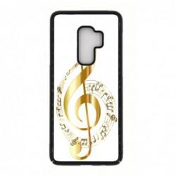 Coque noire pour Samsung S Advance i9070 clé de sol - solfège musique - musicien