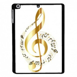 Coque noire pour Samsung Tab 3 10p P5220 clé de sol - solfège musique - musicien