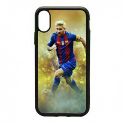 Coque noire pour IPHONE 4/4S Lionel Messi FC Barcelone Foot fond jaune