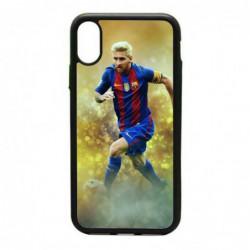 Coque noire pour IPHONE X et IPHONE XS Lionel Messi FC Barcelone Foot fond jaune
