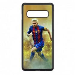 Coque noire pour Samsung S10 Lionel Messi FC Barcelone Foot fond jaune