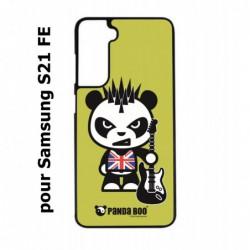 Coque noire pour Samsung S21 FE PANDA BOO© Punk Musique Guitare - coque humour