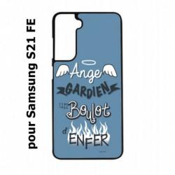 Coque noire pour Samsung S21 FE ProseCafé© coque Humour : Ange gardien un boulot d'enfer