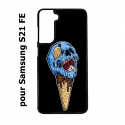 Coque noire pour Samsung S21 FE Ice Skull - Crâne Glace - Cône Crâne - skull art