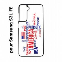 Coque noire pour Samsung S21 FE USA lovers - drapeau USA - patriot
