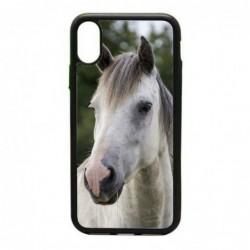 Coque noire pour IPHONE X et IPHONE XS Coque cheval blanc - tête de cheval