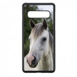 Coque noire pour Samsung S10 Coque cheval blanc - tête de cheval