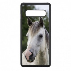 Coque noire pour Samsung S6 Coque cheval blanc - tête de cheval