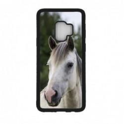 Coque noire pour Samsung S9 Coque cheval blanc - tête de cheval
