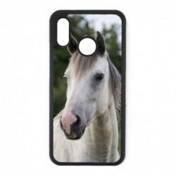 Coque noire pour Huawei P30 Coque cheval blanc - tête de cheval