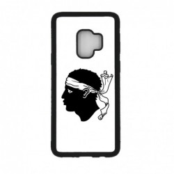 Coque noire pour Samsung S6 Edge Plus Drapeau Corse Emblème - Écusson Argent à Tête de Maure