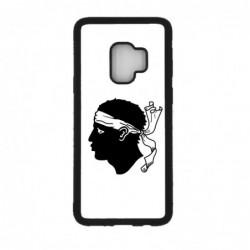 Coque noire pour Samsung S9 Drapeau Corse Emblème - Écusson Argent à Tête de Maure