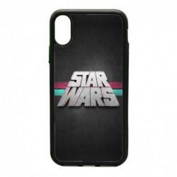 Coque noire pour IPHONE X et IPHONE XS logo Stars Wars fond gris - légende Star Wars