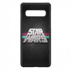 Coque noire pour Samsung S10 logo Stars Wars fond gris - légende Star Wars