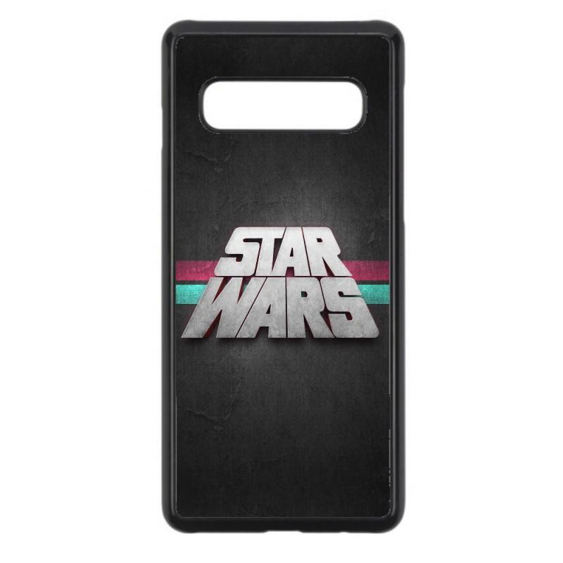 Coque noire personnalisée pour Smartphone Samsung S6 Edge Plus logo Stars Wars fond gris - légende Star Wars
