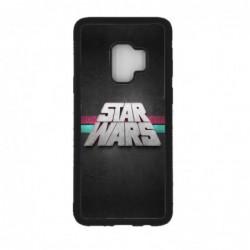 Coque noire pour Samsung S9 logo Stars Wars fond gris - légende Star Wars