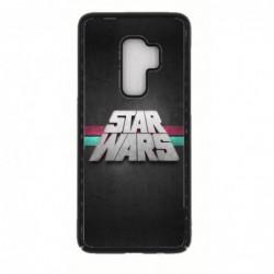 Coque noire pour Samsung S9 PLUS logo Stars Wars fond gris - légende Star Wars